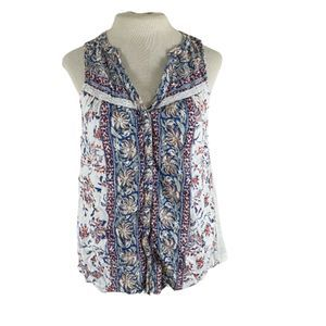 Lucky Brand Button Front Tank Top Flowy Blouse